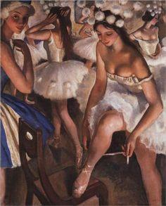 Ballerinas in the dressing room (1923) - Zinaida Serebriakova. Oil on Canvas. Location: Private Collection.
