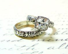 Anastasia Ring Duo Engagement Sterling by EternalElementsShop