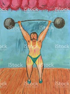 Retro Weightlifting Painting royalty-free stock illustration
