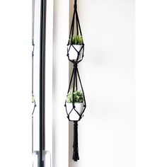 Double Macrame Plant Hanger Black Hanging Planter 100%