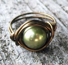 Light Green Pearl Ring Swarovski Bohemian by DistortedEarth
