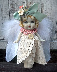 Altered bisque angel doll kewpie style made by LittleBeachDesigns, $69.00