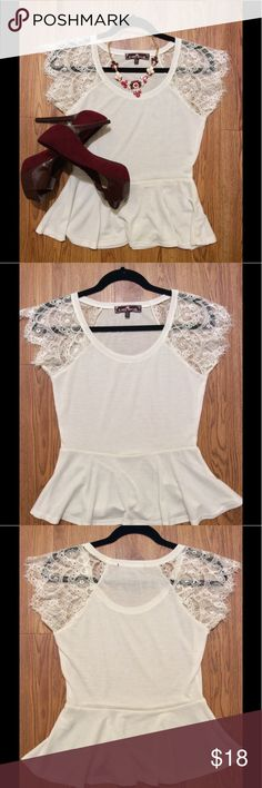 NWOT White Peplum Shirt New without tags, size M, 22-inch length, 12-inch width, good stretch, lace sleeves Almost Famous Tops Tees - Short Sleeve