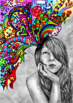 Let your imagination flow.  Each child does self portrait and create thoughts flowing from self.