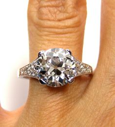 1910 Edwardian 3.07ct Old European Round VINTAGE ANTIQUE Solitaire Diamond Wedding ENGAGEMENT Ring in Platinum. via Etsy.