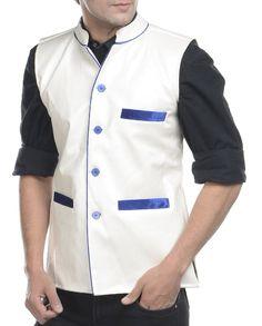 White brushed leather nehru jacket   1. White brushed faux leather jacket2. Chest size: Medium-40 inches, Large-42 inches, XL-44 inches3. Jacket length: 27 inches, Large-27 inches, 28, XL-44 inches