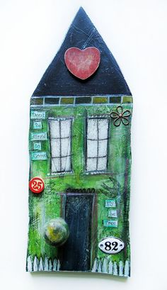 Original mixed media art House of growth and by Diana Jane Designs Pottery Houses, Ceramic Houses, Mixed Media Painting, Mixed Media Art, Painting Collage, Painting Abstract, Acrylic Paintings, Collage Art, Wood Crafts