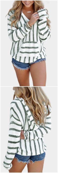 Grey Hooded Design Stripe V-neck Long Sleeves Sweatshirts US$15.95