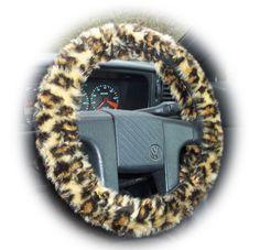 Brown Leopard steering wheel cover car truck van suv sleeve cheetah animal print faux furry fur fluffy fuzzy wild cat pattern rosettes spots