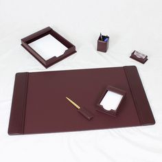 Burgundy Leather 7 Piece Desk Set   eBay
