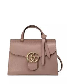 126a9866f36 GG Marmont Small Pearly Top-Handle Satchel Bag Nude. Gucci ...