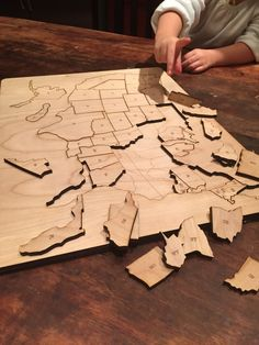 The laser cut wood puzzle helps you learn geography. Each piece has the state abbreviation etched in. Guidelines are also etched into the bottom layer to help complete the puzzle.The puzzle is 17.5 x 13 inches and a 1/2 inch thick.