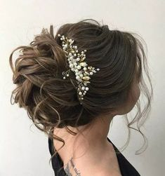 Bridal Beaded Hair Piece, Gold Wedding Hair Comb, Bridesmaid Pearl Hair Comb, Bridal Accessories, Silver Wedding Headpiece Bri… in 2020 Bridal Hair Updo, Hair Comb Wedding, Wedding Hair Pieces, Bridal Hairpiece, Hair Beads, Bride Hairstyles, Short Hairstyles, Pretty Hairstyles, Bridesmaid Hair