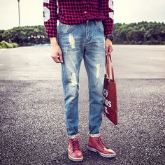 16.47$  Watch here - http://aliz0a.shopchina.info/go.php?t=32805681454 - Fashion 2017 Spring Summer retro ripped hole straight jeans Casual men's hip hop Distressed Moustache Effect Cowboy pants Mens  #SHOPPING