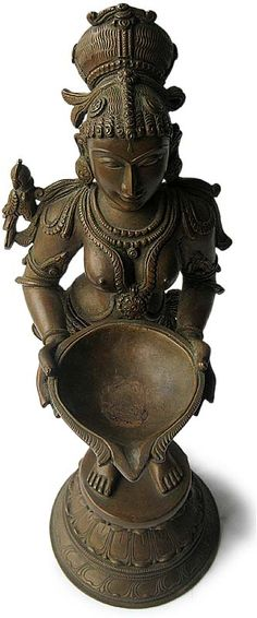 Indian Hindu Chola Bronze Deepalakshmi Oil Lamp