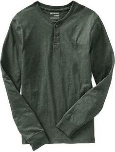 """Old Navy Mens Long-Sleeve Jersey Henley - color """"Green Ogre"""", size """"L Tall"""""""