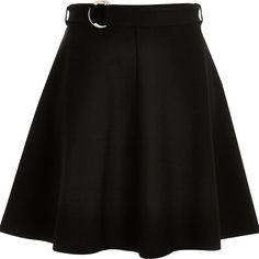 River Island Black jersey belted skater skirt ($56) ❤ liked on Polyvore featuring skirts, short mini skirts, short black mini skirt, circle skirt, black miniskirt and flared skater skirt