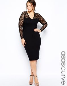 fb6e12fca6a ASOS CURVE Exclusive Body-Conscious Dress With Lace Sleeves And Deep Plunge  In Longer Length