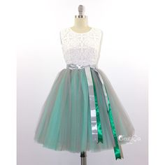 Ciara Ombre Tulle Skirt in Dove Gray & Mint Green 6-Layers Puffy Tutu... (290 BRL) ❤ liked on Polyvore featuring skirts, silver, women's clothing, tulle skirt, knee length tulle skirt, see through skirt, layered tulle skirt and midi tutu skirt