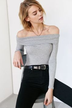 Hiatus Ribbed Off-The-Shoulder Top - Urban Outfitters