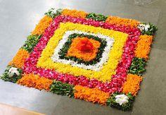 15 Beautiful & Colorful Flower Rangoli Designs Ideas For Pongal 2020 Indian Rangoli Designs, Rangoli Designs Flower, Colorful Rangoli Designs, Rangoli Designs Images, Flower Rangoli, Beautiful Rangoli Designs, Flower Designs, Housewarming Decorations, Diy Diwali Decorations