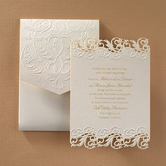 The beauty of laser cutting is exhibited on this fully assembled, shimmering invitation of elegance.