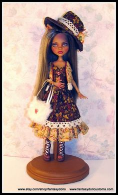 Clawdeen Monster High Doll repaint and reroot - dressed custom ooak outfit by Fantasy Dolls ~ On SALE on ETSY 11-1-14