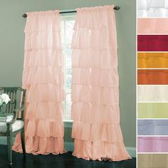 Gypsy Shabby Chic Semi Sheer Ruffled Window Curtain Panel For master bedroom