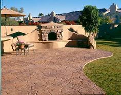 Country Fireplace And Stamped Concrete Patio Create This Rustic Backyard  Design. Progressive Hardscapes Phoenix,