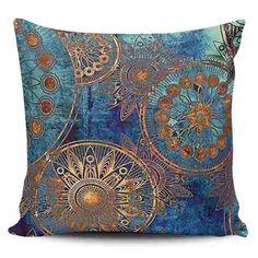 Cojin Decorativo Tayrona Store Mandala Azul 01 - $ 43.900