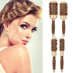 Hair Salon Aluminum Round Comb Hairdressing Brushes Salon Styling Barrel Curler Brush