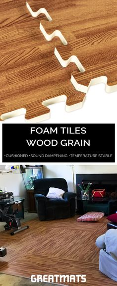 Foam Tiles Wood Grain are a stunning option if you want a soft, foam floor with designer looks. These tiles are often used to transform a basement floor because they are warm and waterproof. #woodgrainfoamtiles
