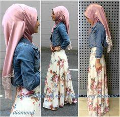 Hijab fashion-Denim shirt and florals