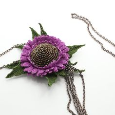 Unique crochet pendant beaded pendant lilac flower от LozArts