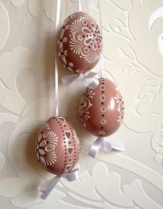 Items similar to Set of 3 brown Hand Decorated Painted Easter Egg Madeira with string, Traditional Slavic Wax Pinhead Chicken Egg, Pysanka on Etsy Egg Crafts, Diy And Crafts, Egg Art, Bowl Fillers, Chicken Eggs, Easter Eggs, Wax, Crafty, Christmas Ornaments