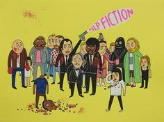 Laurina Paperina - Pulp Fiction - 2014 - Mixed media on paper - 30 x 40 cm - © Mazel Galerie #PulpFiction #Tarantino