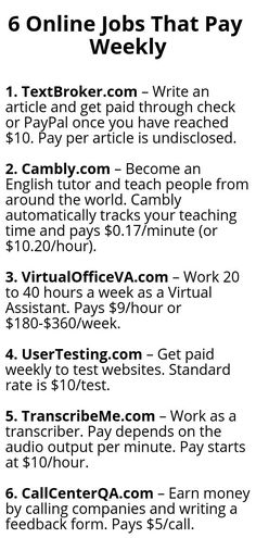 6 Online Jobs That Pay Weekly - Wisdom Lives HereYou can find Online jobs and more on our Online Jobs That Pay Weekly - Wisdom Lives Here Ways To Earn Money, Earn Money From Home, Money Saving Tips, Way To Make Money, Make Money Online, Money Fast, Legit Work From Home, Work From Home Jobs, Vie Motivation