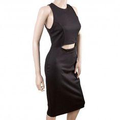 Vestido negro de noche con una apertura en la parte delantera.Material(es) 96% Poliéster y 4% Elastano.Color(es) Negro.