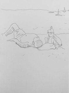 la plage (maartje jaquet) Tags: beach strand pen sketch drawing sketchbook plage scribble tekening laturballe schets schetsboek