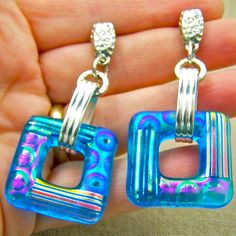 Great for summer! #earrings #jewelry #gift #brigteam #glass #dichroic #turquoise $24.00