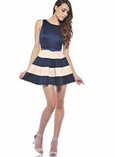 Navy+A-line+Dress+with+Bold+Beige+Stripes,++Dress,+navy++beige++bold+stripes++colorblock,+Chic