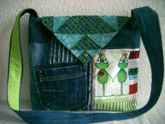Tasche,Jeanstasche mit Frosch von Nähwittchen auf DaWanda.com