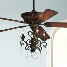 Casa Contessa Dark Bronze Chandelier Ceiling Fan - #55878-56255-4G154 | Lamps Plus