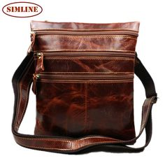 42.69$  Buy here - http://aitrc.worlditems.win/all/product.php?id=32271520007 - 2015 New Vintage Casual 100% Genuine Leather Cowhide Men Small Vertical Messenger Bag Shoulder Cross Body Ipad Bag Bags For Men