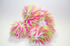 CF14 - Hot Pink, Lime and White Crazy Fur | Fuzzy Soakers Figure Skate Blade Covers Soakers