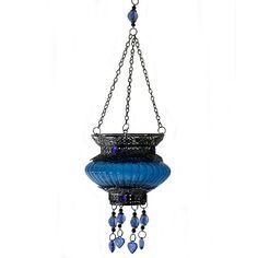 Porta velas abalorios azul