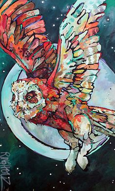 Owl, Uplift by Amy RINGHOLZ Owl Art, Bird Art, Birthday Painting, Owl Illustration, Illustrations, Oil Painting For Beginners, Abstract Pictures, Colorful Animals, Alcohol Ink Art