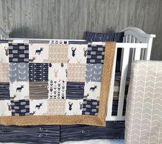 Ready to Ship Baby Nursery Bedding Set Baby Woodland Boy Nursery Bedding Sets, Nursery Crib, Baby Nursery Bedding, Baby Boy Nurseries, Teal Nursery, Crib Sets, Woodland Nursery Boy, Tribal Bedding