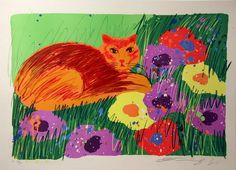 Walasse Ting - Cat in the Garden, 1981 - Lithograph