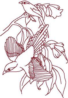Redwork Bird Pair Embroidery Design Bird Embroidery, Hardanger Embroidery, Japanese Embroidery, Silk Ribbon Embroidery, Vintage Embroidery, Machine Embroidery Designs, Embroidery Patterns, Embroidery Stitches, Embroidery Techniques